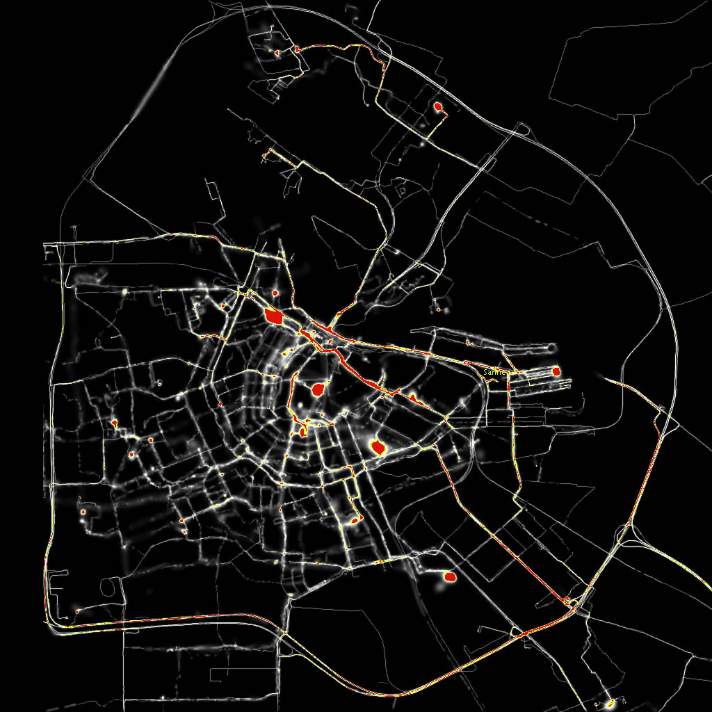 Esther Polak, Amsterdam Real Time, Vue de la carte complète (copie d'écran) Source : [http://realtime.waag.org/]