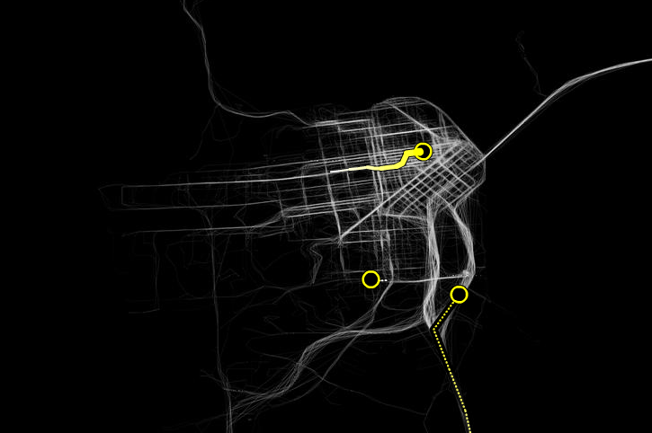 Stamen, Cabspotting, « Cabtracker », capture d'écran,  [http://cabspotting.org/client.html]