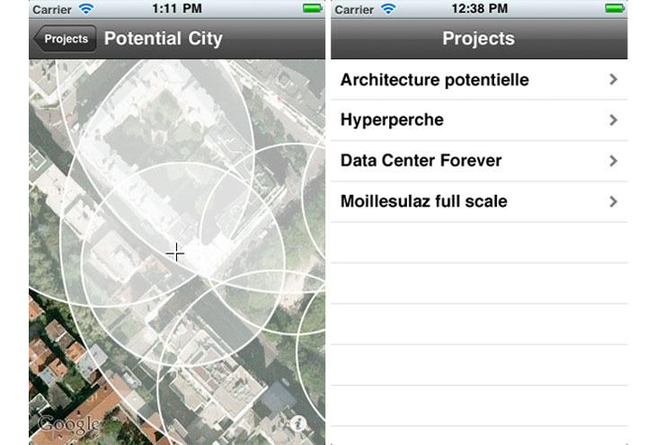 Nogo Voyages, Potential City les halles, vue de l'interface mobile  Source :[http://www.nogovoyages.com/potentialcity.html]
